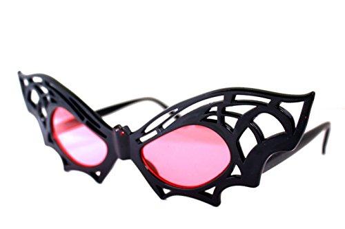 Feste Feiern Halloweendeko I 1x Brille Sonnenbrille Fledermaus Accessoire Schwarz Rot I Happy Halloween Grusel Party (Brille Fledermaus)