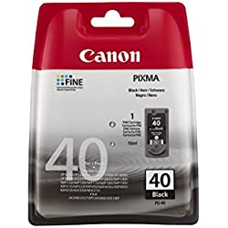 Canon PG-40 Cartucho de tinta original Negro para Impresora de Inyeccion de tinta Pixma MP140-MP150-MP160-MP170-MP180-MP190-MP210-MP220-MP450-MP450x-MP460-MP470-iP1200-iP1300-iP1600-iP1700-iP1800-iP1900-iP2200-iP2500-iP2600