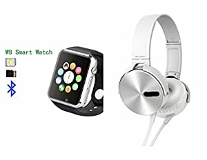 MIRZA Bluetooth A1 Smart Wrist Watch & Extra Bass XB450 Headphones for SAMSUNG GALAXY A 7 DUOS(Extra Bass XB450 Headphones & A1 Smart Watch Watch Phone with Camera & SIM Card Support Hot Fashion New Arrival Best Selling Premium Quality Lowest Price with Apps like Facebook,Whatsapp, Twitter, Sports, Health, Pedometer, Sedentary Remind,Compatible with Android iOS Mobile Tablet-Silver Color)