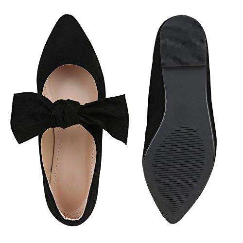 Damen Halbschuhe | Klassische Schnürer Leder-Optik Velours | Basic Schuhe Glitzer Spitze | Schleifen Details | Flache Schuhe Muster Schwarz Schleife
