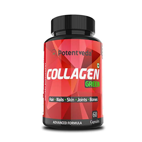 Potentveda Natural Advanced Collagen Support Formula for Skin, Nails & Hair Vegetarian Collagen generator Supplement 60 Capsules for Men & Women (1)