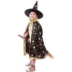 Halu Disfraces de Halloween Bruja Mago Capa con Capa y Sombrero Sombrero Mago niño niños Cosplay Traje de Vestido de Lujo para los niños pequeños los niños Chicos / Chicas (Negro)