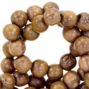 Sadingo Holzperlen, Holzkugeln - 50 Stück - 8 mm - Braun - 1 Strang - Perlen zum basteln (Braune Holzperlen)