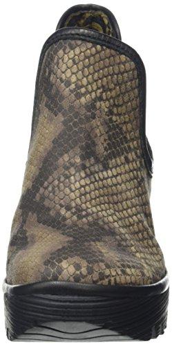 FLY London  Yat, Bottes Classics courtes, doublure froide femme Multicolore (Snake grey/black)