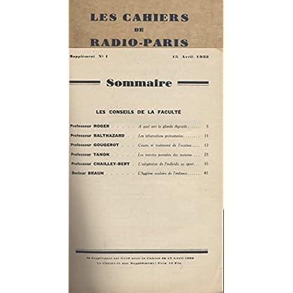 Les Cahiers de RADIO-PARIS N° de 1932 : Supplément N° 1 : Les conseils de la Faculté. Conférences données dans l'auditorium de la Compagnie française de radiophonie.