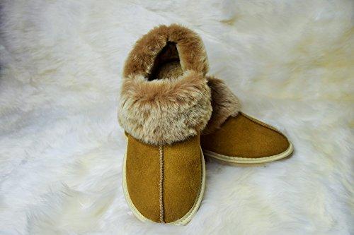 Pantofole Da Donna In Pelle Di Agnello / Mocassino Con Suola Piena Beige / Cognac