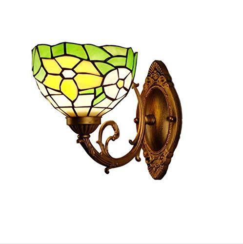 Tiffany Stil Wandleuchten, Retro Glasmalerei Nachtlicht, Blume Blattgrün Wandleuchte, für Western Restaurant Hotelzimmer Wandleuchte 110-220V E27 (Glühlampe 168)