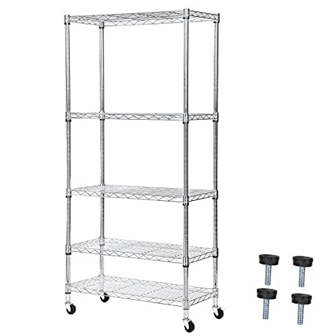 Songmics 5-Tier Chromium-plated Metal Wire Shelving Unit with Wheels and