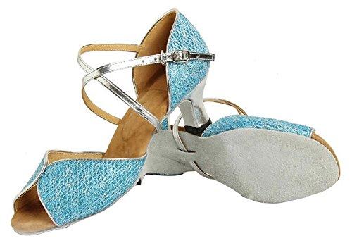 Honeystore Damen's Glitter Peep Toe Hochzeit Tanzschuhe Blau