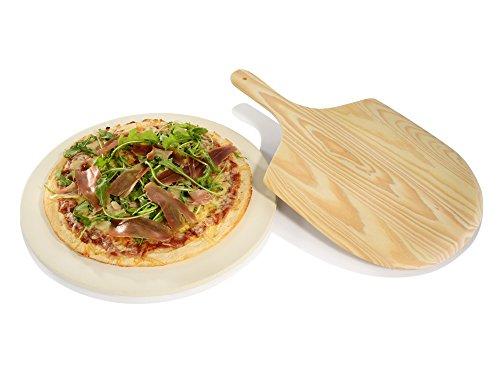 Pizzastein 33 cm mit Pizzaheber Brotbackstein Flammkuchenstein Heißer Stein