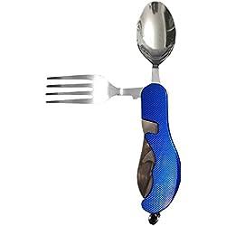 Hrph Juego de supervivencia de camping al aire libre Cuatro Unity plegable de acero Vajilla Multi-funcional herramientas portátiles Cuchillería cuchara cuchara de tenedor