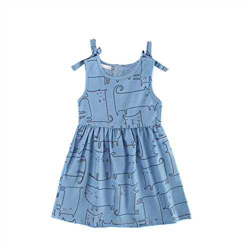 Brightup 3-10 Years Girl Printed Denim Dress Vest A-Line Dress With Bowknot Summer Jean Outfits