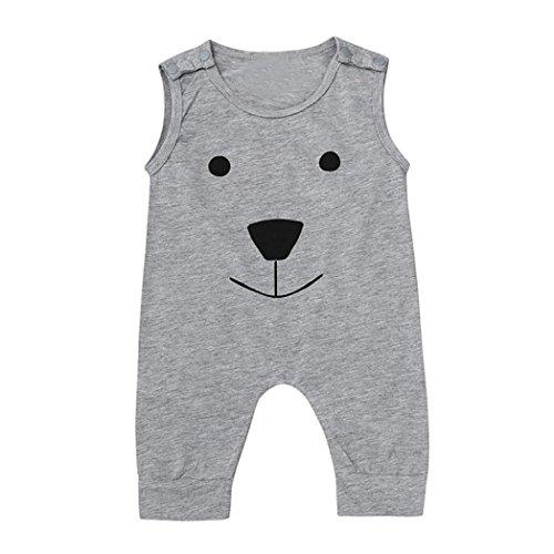 Bluestercool Ours Jumpsuit Romper Outfits Vêtements pour Bébé Filles et Garçon (12M, Gris)