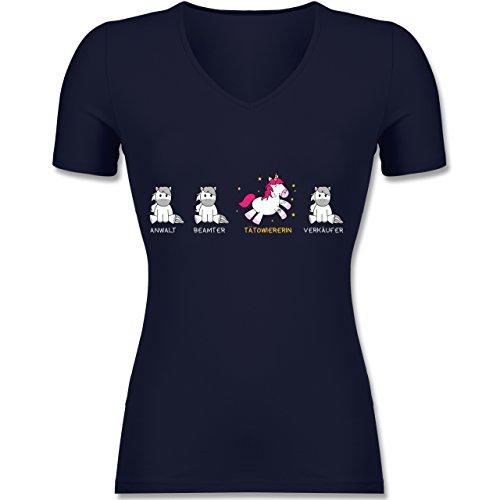 Shirtracer Sonstige Berufe - Tätowiererin Einhorn - Tailliertes T-Shirt mit V-Ausschnitt für Frauen Dunkelblau