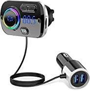 Innoo Tech Bluetooth FM Transmitter for Car,Bluetooth 5.0 Radio Adapter QC3.0 Fast Car Charger Adapter Kit wit