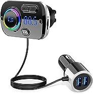 جهاز ارسال اف ام بالبلوتوث للسيارة من اينو تك، محول راديو بلوتوث 5.0 بتقنية كيو سي 3.0، مجموعة محول شاحن سيارة