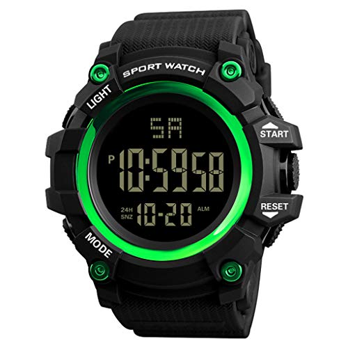 Huacat Männer Analog Digital Outdoor Uhr Military Sport LED wasserdichte Herren Quarz mit Edelstahl Armband
