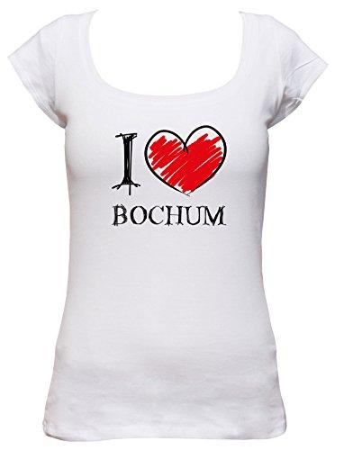 I love Bochum Fun Damen Boat Neck T-Shirt, Größe:XL;Farbe:weiss