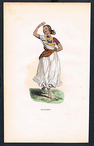 (Grafik Bajadere Tänzerin Indien Tracht Trachten costumes handkoloriert)