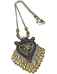 High Trendz Oxidised Gold Silver Dual Tone German Silver Gypsy Style Statement Pendant Necklace Jewellery For... - B0773NCB5G