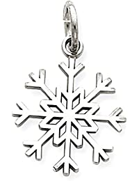 ICE CARATS 14k White Gold Snowflake Pendant Charm Necklace Holiday Fine Jewelry Gift Set For Women Heart