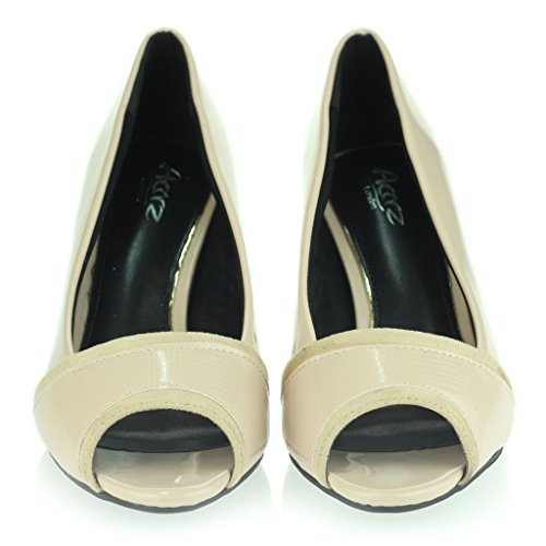 Femmes Dames Travail Intelligement Formel Peeptoe Géminin Mince Talon Moyen Soir Casual Fête Des Sandales Chaussures Taille Beige