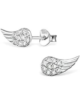 Unbespielt Schmuck Ohrschmuck Ohrringe Silber 925 Ohrstecker Engelsflügel mit Zirkonia transparent für Damen oder...