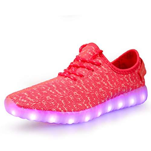 Pengye LED leuchtende Schuhe Paar Fliegende gewebte Schuhe USB Laden atmungsaktiv (Farbe : C, größe : 38EU)