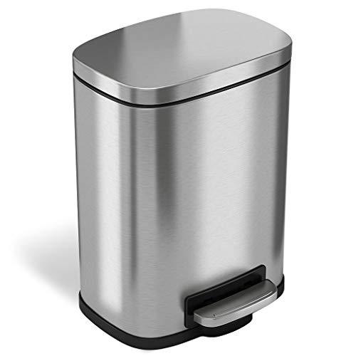 iTouchless SoftStep-Abfalleimer, Edelstahl, mit Pedal, für Küche, Büro, Zuhause, Silver 5 L, 5 L (Itouchless Papierkorb)