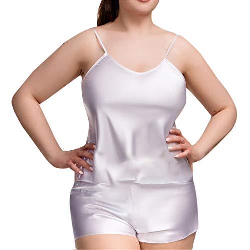 MRULIC Damen Sexy Sleepwear Satin Sets Plus Size Dessous Nachtkleid Unterwäsche Nachtwäsche(Weiß,EU-40/CN-XL)