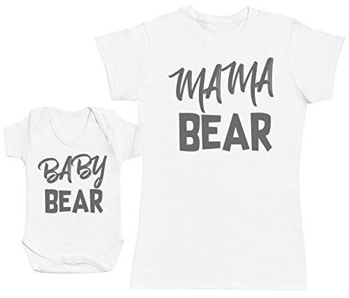 Zarlivia Clothing Baby Bear & Mama Bear - Ensemble Mère Bébé Cadeau - Femme T Shirt & bébé Bodys - Blanc - Medium & Naissance