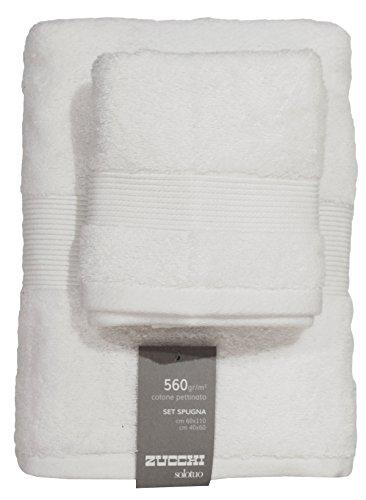 Set spugna coppia 2 pezzi 1+1 ospite 40 x 60 + asciugamano 60 x 110 zucchi solotuo asciugamani 100% spugna di puro cotone 560 gr/mq (bianco - 1000)