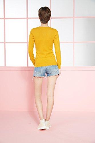 LongMing Damen 100% Kaschmir Strickjacke for Winter Rundhals Langarm Casual V-Ausschnitt Cardigan Swaeter Orange