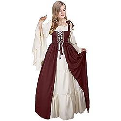 Vestido sin Hombros con Manga Abocinada Medieval Renaissance Ropa con Volantes Vintage para Mujer, XL