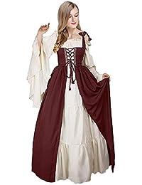 3282a8b4a Vestido sin Hombros con Manga Abocinada Medieval Renaissance Ropa con  Volantes Vintage para Mujer