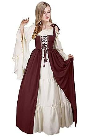 Huiyemy Damen Renaissance Mittelalter Kleid mit