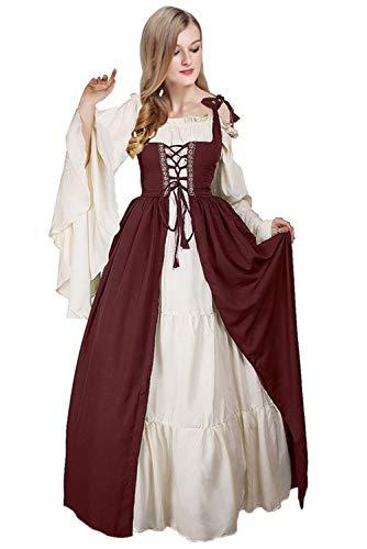 Kostüm Mittelalterliche Frauen - Beutyshop Mittelalter-Kostüm Langarm Magd Damen Freifrau Mittelalterliches Gewand mit Schnürung,Damen Vintage Retro Hohe Taille Kleid Prinzessin Gothic Kleid
