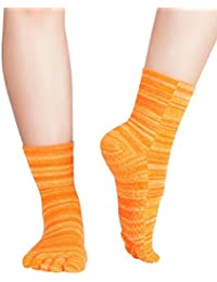 Knitido Wellness Massage - Calcetines de tobillo alto con dedos, Bienestar y Masaje, Size:UK 9-11;Mottled:mottled orange