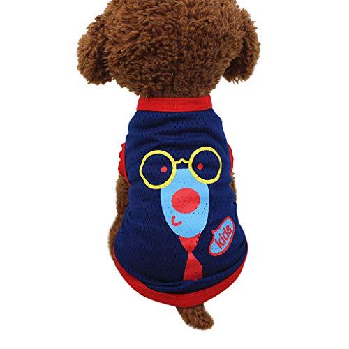 T.boys's Haustier  Pet T Shirt Frühling und Sommer Kostüm Weste Shirts, kleine Hunde Cartoon Muster/Klassische Muster ärmellose Baumwolle Mesh Atmungsaktiv Weste (M, Dunkelblau)