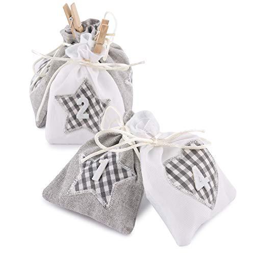 Adventskalender zum Befüllen Karo 24 Stoffbeutel Geschenksäckchen grau weiß Weihnachten, Weihnachtskalender DIY von pajoma