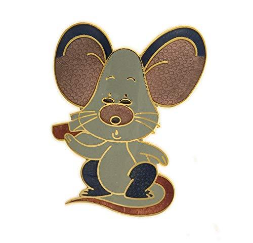 Behave Damen Vintage Broschen mit Maus aus Emaille - hellblau - 4cm Größe -