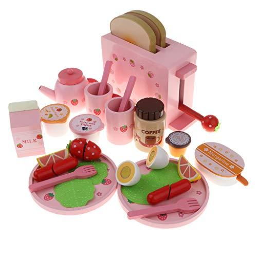 KESOTO Juguete de Cocina Corte de Alimentos de Madera Juego de Fantasía para Niños Accesorios de Casa de Muñecas