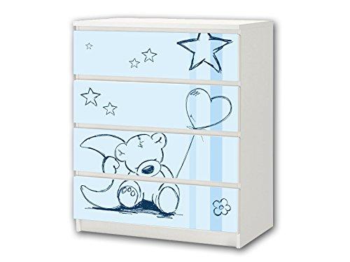 Stikkipix Teddy blau Möbelsticker/Aufkleber - M4K18 - passend für die Kommode mit 4 Fächern/Schubladen MALM von IKEA - Bestehend aus 4 passgenauen Kinderzimmer Möbelfolien (Möbel Nicht inklusive)