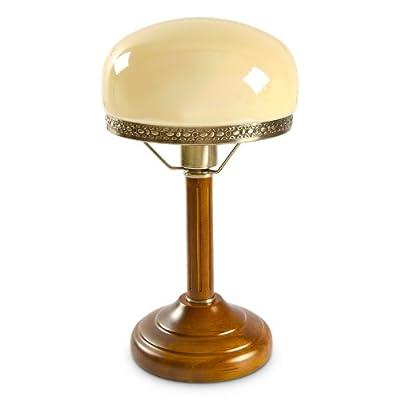 Relaxdays Tischlampe Rund Holzfuß Nostalgie Jugendstil Look, beige / messing-optik 10016611 von Relaxdays auf Lampenhans.de
