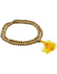 La meditación del grano de madera de sándalo tradicional Japa Mala Marrón Rosario Oración