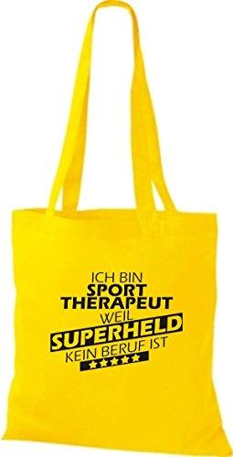 Shirtstown Stoffbeutel Ich bin Sporttherapeut, weil Superheld kein Beruf ist goldgelb