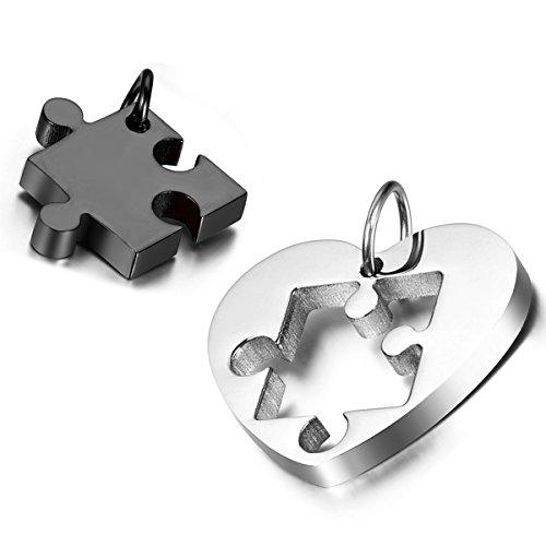 Cupimatch 2 Halsketten für Paare mit Anhängern, Herz-Puzzle, Edelstahl, Ketten mit 45und 56cm, Silber & Schwarz
