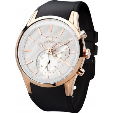 Jorg Gray Men's Quartz Watch with White Dial Chronograph Display and Black Silicone Strap JG5100-34