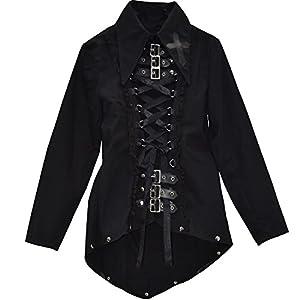 El celibato 44007005.008M Mujeres gótica de Steampunk blusa de manga larga con muchos detalles, gran M delgado negro