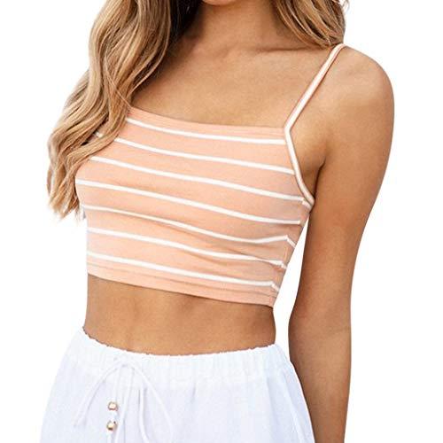 BHYDRY Débardeur Camis Casual Stripe Casual Stripe pour Femme(Small,Orange)